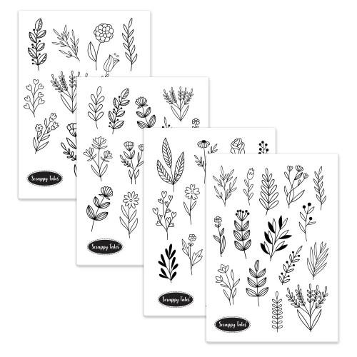 Paper Elements A5 - Line Florals - 4 sheets