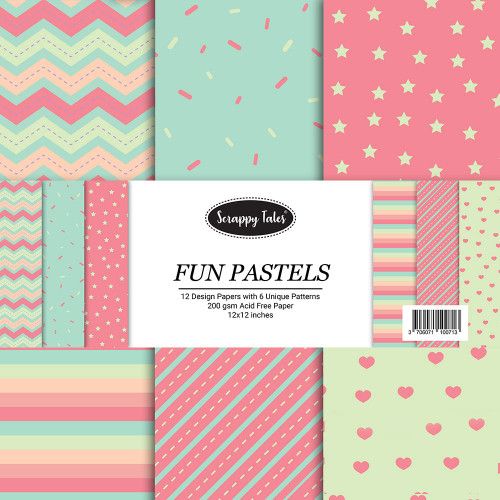 Pattern Papers 12x12 - Fun Pastels - Pack of 12