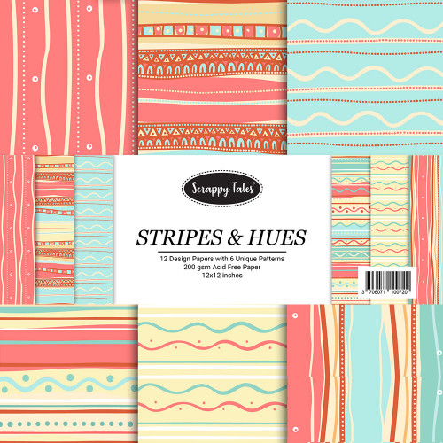 Pattern Papers 12x12 - Stripes & Hues - Pack of 12