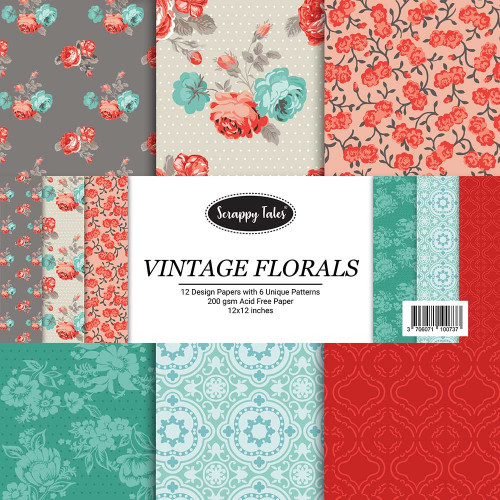 Pattern Papers 12x12 - Vintage Florals - Pack of 12