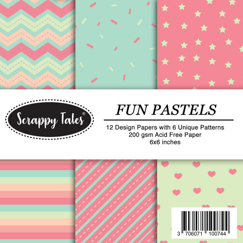 Pattern Papers 6x6 - Fun Pastels - Pack of 12