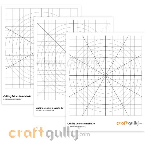 Quilling Mandala Grid Printable Template - Set of 3