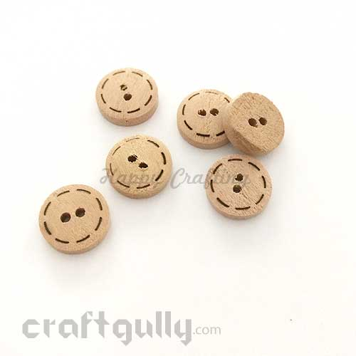Buttons Wooden 15mm - Round - Design #1 - Natural - Pack of 6