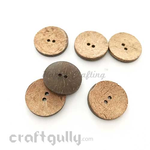 Buttons Coconut Shell #1 - 24mm Round - 2 Buttons