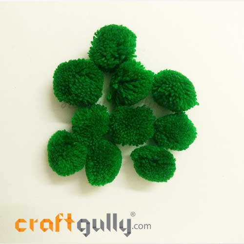 Pom Poms 22mm - Green - Pack of 10