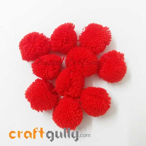 Pom Poms 22mm - Vermilion Red - Pack of 10
