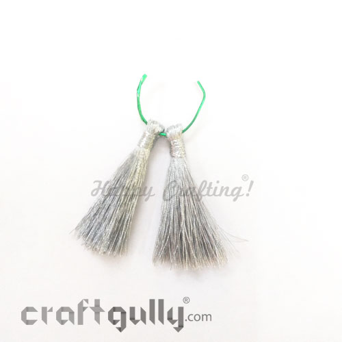 Tassels 45mm - Metallic Silver - Pack of 2