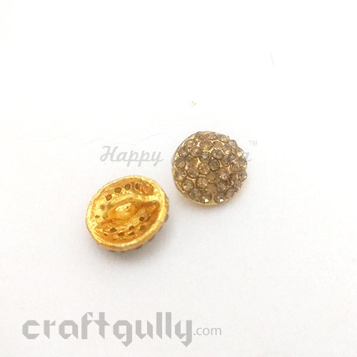 Buttons Metal #1 - 13mm Round - Golden - 2 Buttons