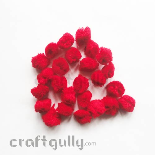 Pom Poms 20mm - Red - Pack of 25