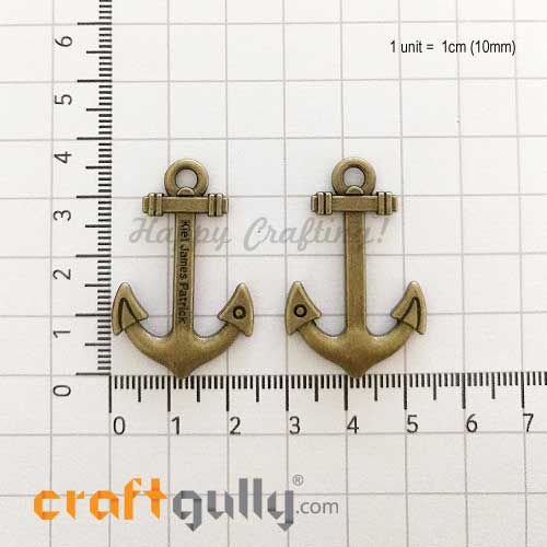 Charms / Elements 36mm Metal - Anchor - Bronze - Pack of 1