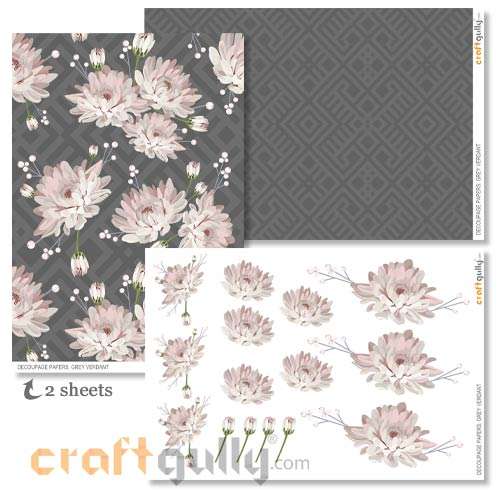 Decoupage Papers A4 - Grey Verdant - Pack of 4