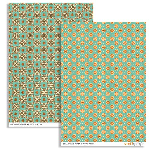 Decoupage Papers A4 - Indian Motif - Pack of 4