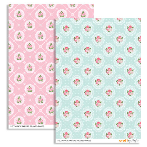 Decoupage Papers A4 - Framed Roses - Pack of 4