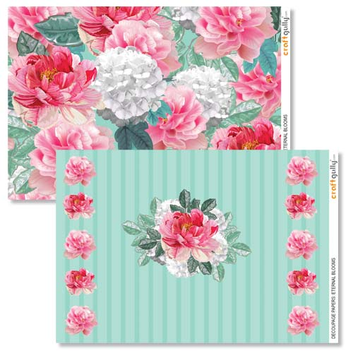 Decoupage Papers A4 - Eternal Blooms - Pack of 4