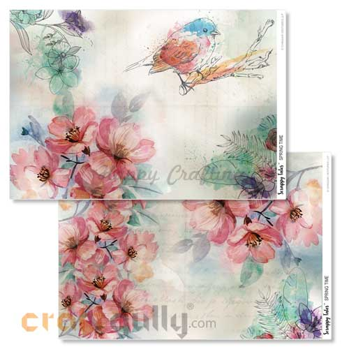 Decoupage Papers A4 - Spring Time - 100gsm - Pack of 4