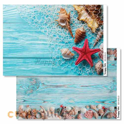 Decoupage Papers A4 - Sea Shells - 100gsm - Pack of 4