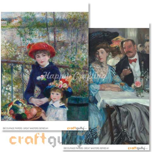 Decoupage Papers - Great Masters Series #1 - 100gsm - 4 Sheets