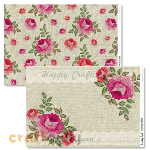 Decoupage Papers A4 - Vintage Roses - 100gsm - 4 Sheets