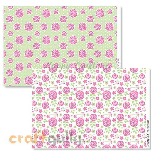 Decoupage Papers A4 - Retro Roses - 100gsm - Pack of 4
