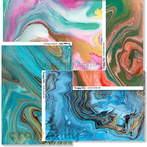 Decoupage Papers A4 - Gilded Marbling - Pack of 4
