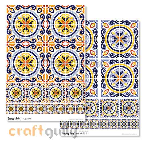 Decoupage Papers A4 - Tile Away - Pack of 4