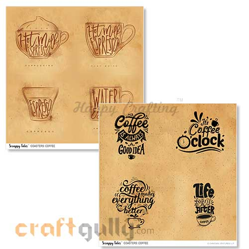 Decoupage Papers 8x8 inches - Coasters: Coffee - Pack of 4