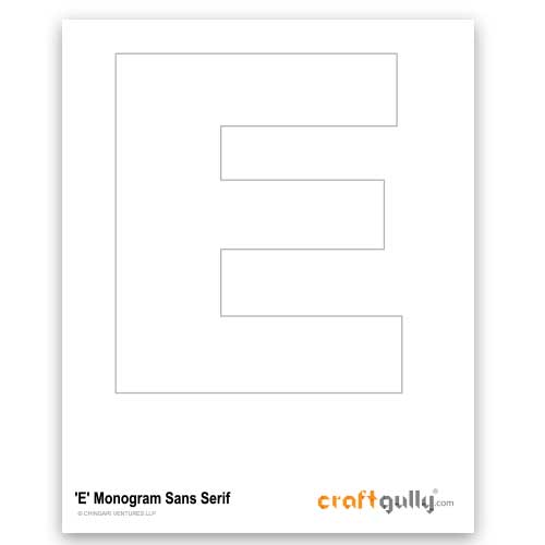 Free CraftGully Printable - Monogram Sans Serif - E