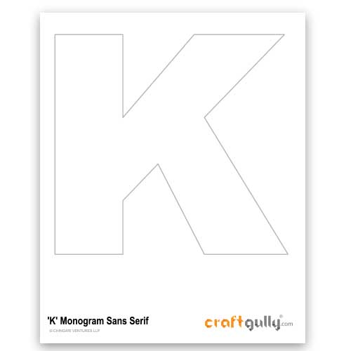 Free CraftGully Printable - Monogram Sans Serif - K