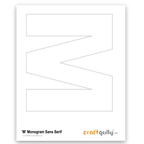 Free CraftGully Printable - Monogram Sans Serif - M