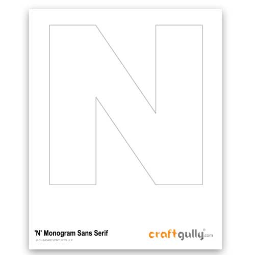 Free CraftGully Printable - Monogram Sans Serif - N