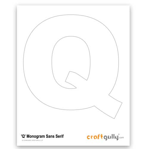 Free CraftGully Printable - Monogram Sans Serif - Q