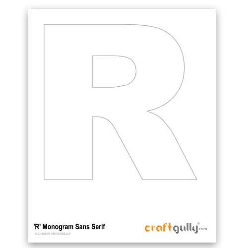 Free CraftGully Printable - Monogram Sans Serif - R