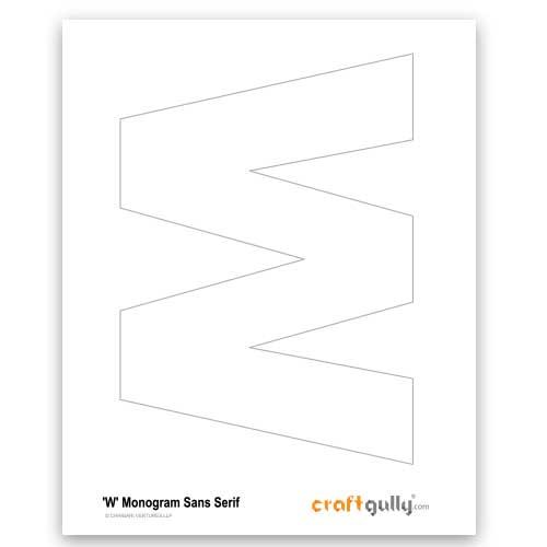 Free CraftGully Printable - Monogram Sans Serif - W