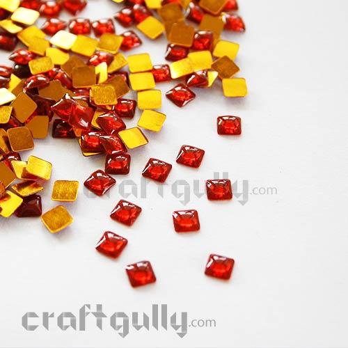 Kundan Stones 5mm - Square - Red - 10gms