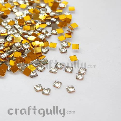 Kundan Stones 5mm - Square - Silver - 10gms