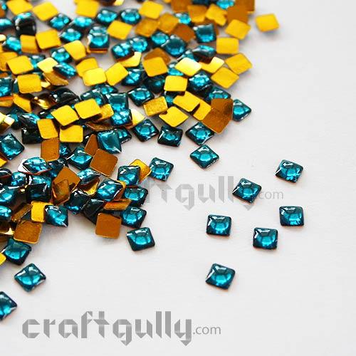 Kundan Stones 5mm - Square - Cerulean Blue - 10gms
