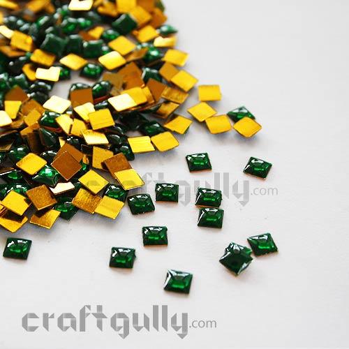 Kundan Stones 5mm - Square - Green - 10gms