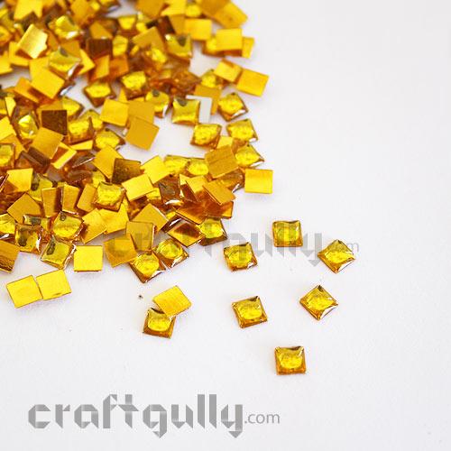 Kundan Stones 5mm - Square - Golden - 10gms