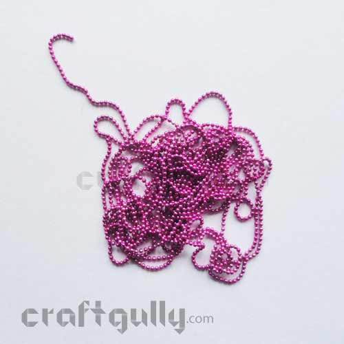 Ball Chain 1mm - Dark Pink - 9 Feet