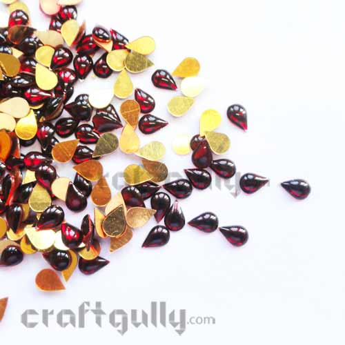 Kundan Stones 7mm - Drop - Maroon - 10gms