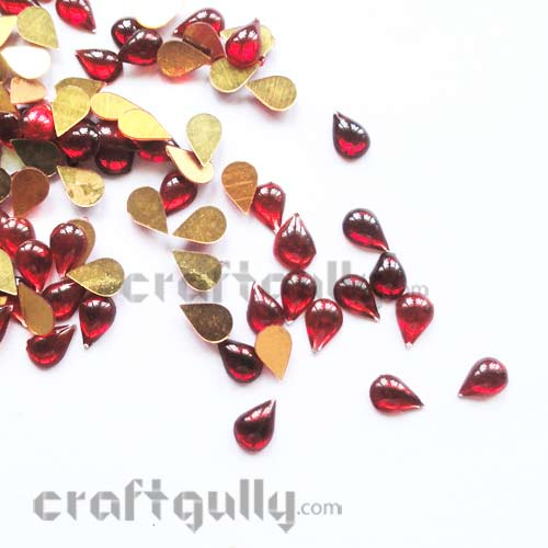 Kundan Stones 7mm - Drop - Red - 10gms