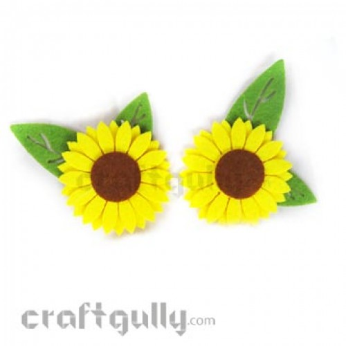 Die-Cut Felt Sunflowers 85mm Pack of 2