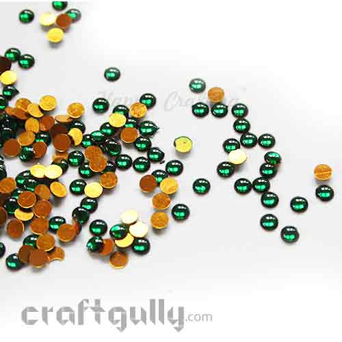 Kundan Stones 5mm - Round - Green - 10gms