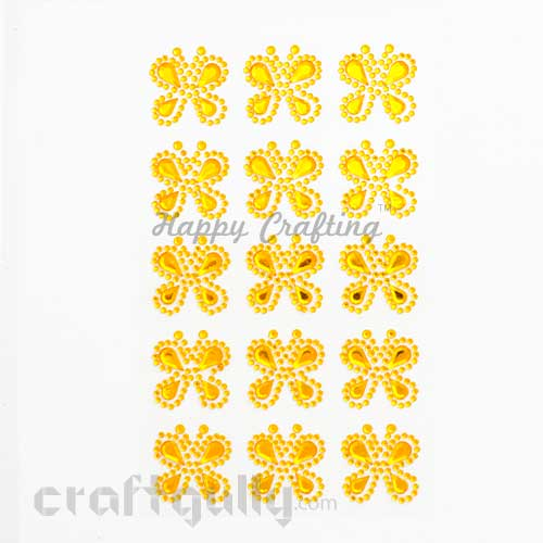 Stick-ons - Butterfly 25mm - Golden Yellow - Pack of 15