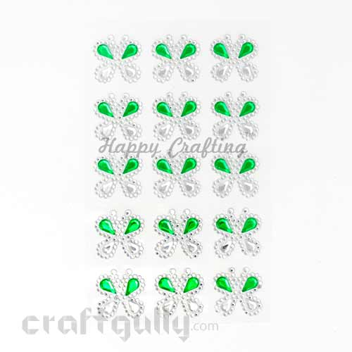 Stick-ons - Butterfly 25mm - White & Green - Pack of 15