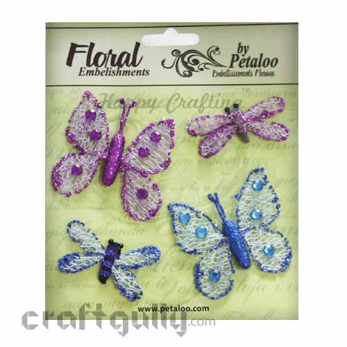 Petaloo Floral Embelishments - Butterflies & Dragonflies - Purple & Blue