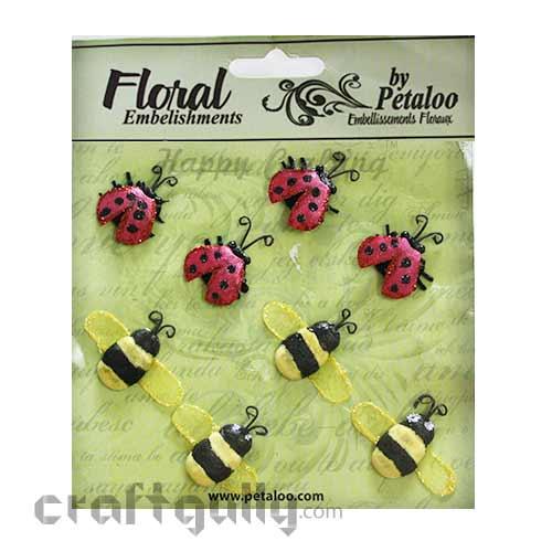 Petaloo Floral Embelishments - Glitter Critters - Bees & Ladybugs
