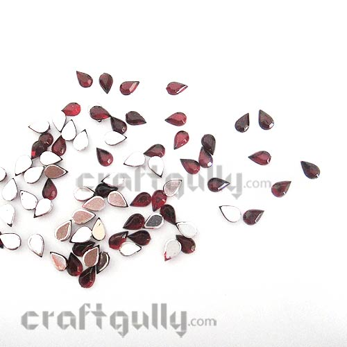 Rhinestones 6mm - Drop - Maroon - Pack of 50