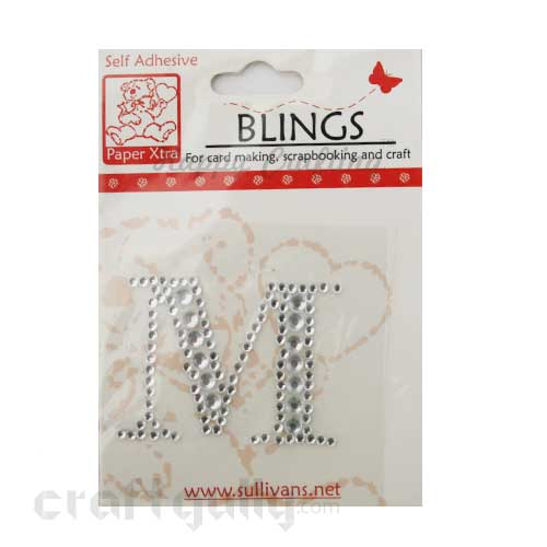 Rhinestone Stick-ons - Alphabets / Letters - M