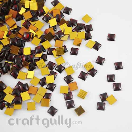 Kundan Stones 5mm - Square - Maroon - 10gms